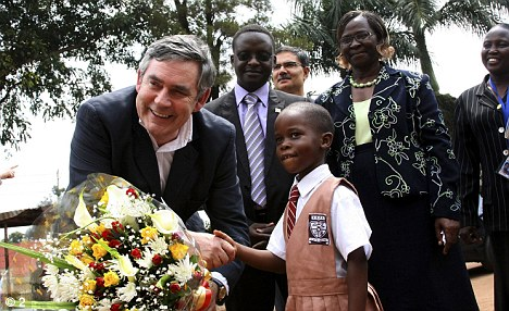 Gordon Brown in Uganda. Credit: Daily Mail